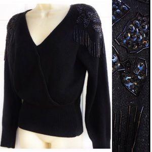 Vintage Black Silk Angora Beaded Fringe Sweater S